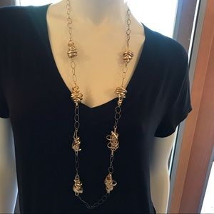 Anthro Gold Tone Long Necklace